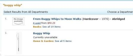 "Picture of Buggy Whip at Amazon sayng ""not available"""