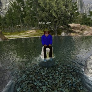 Avatar with a blue jacket sitting on a rock in a wilderness river